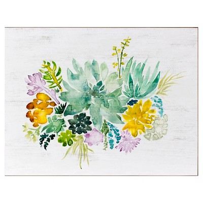 28x22 Watercolor Florals Wood Box Art