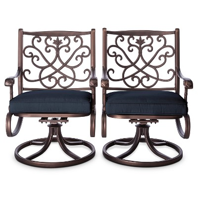 MASTER TH Folwell Cast Aluminum Swivel Dining Chairs (2pk)-Navy