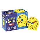 Learning Resources Set of Six Four-Inch Geared Learning Clocks, for Grades Pre-K to 4