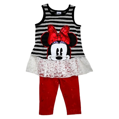 Minnie Mouse Toddler Girls' Striped Tunic and Capri Pant Set - Grey/Red 2T