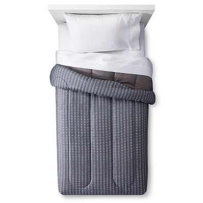 Comforter Striped Full/Queen Gray - Room Essentials™