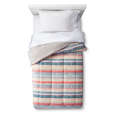Comforter Hand Drawn Stripe Full/Queen Coral - Room Essentials™