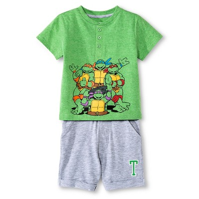 Toddler Boys' Teenage Mutant Ninja Turtles Top And Bottom Set - Green 12M