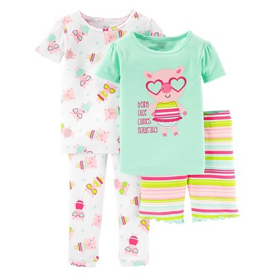 Baby Girls' Snug Fit Cotton 4-Piece Print Pajama 9M - Just One You™ Made by Carter's®