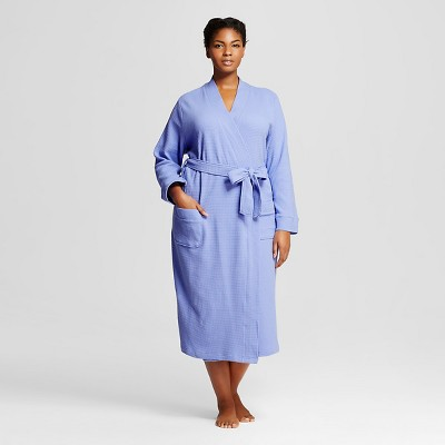 Women's Plus Size Sleepwear Textured Knit Robe Deep Periwinkle 1X - Gilligan & O'Malley™
