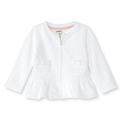Baby Girls' Bow Pocket Peplum Jacket True White 0-3M - Cherokee®
