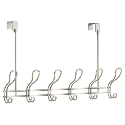 Over the Door 6 Hook Rack Pearl Satin interDesign