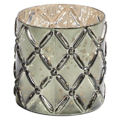 "Trellis Embossed Hurricane 4""-Antique Green"