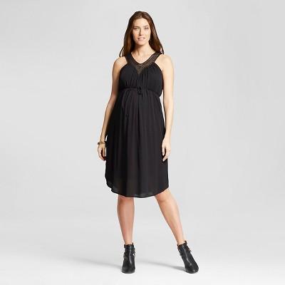 Maternity Crochet Vee Dress Black S - Liz Lange® for Target
