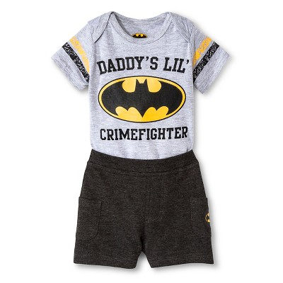 Baby Boys' 2 Piece Batman Set - Grey/Charcoal NB