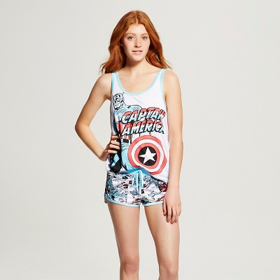 Marvel® Women's Captain America Sleep Tank/Short Pajama Set - White/Blue XL