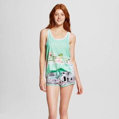 Marvel® Women's Floral Print Sleep Tank/Short Pajama Set - Mint M
