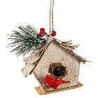 "5"" Birch Bird House Icy Pine Berry-Brown"