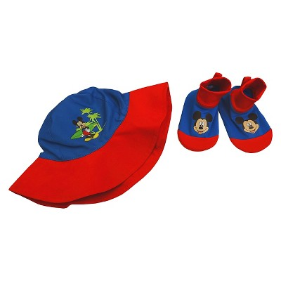 Mickey Mouse Infant Boys'  Swim Hat/Aqua Socks Set - Blue 0-12M