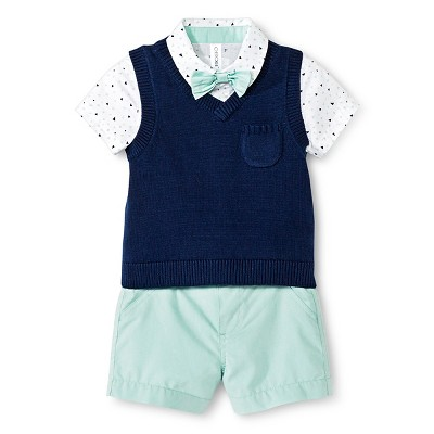 Cherokee® Baby Boys' Bow Tie Top, Sweater Vest & Short 3pc Set - Blue/Print/Mint 0-3 M