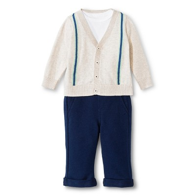 Baby Boys' Suspender Sweater, Bodysuit & Pant 3pc Set Oatmeal Heather/Nighttime Blue 0-3 M - Cherokee®