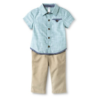 Baby Boys' Stripe Top & Rib Waist Pant Set Blue-Green Stripe/Khaki 0-3M - Cherokee®