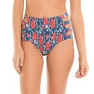 Women's Floral High Waist Bikini Bottom Blue - XS - Tori Praver Seafoam