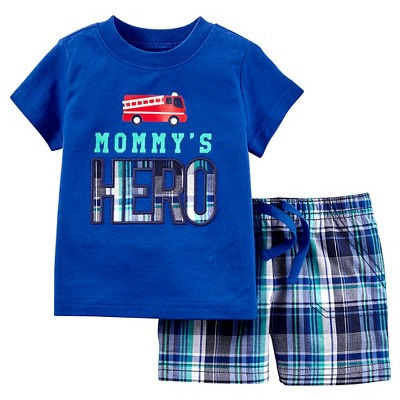 Just One You™Made by Carter's® Baby Boys' 2 Piece Hero Fire Engine Short Set - Blue 3M