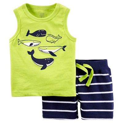 Just One You™Made by Carter's® Baby Boys' 2 Piece Marine Tank Short Set - Lime/Navy NB