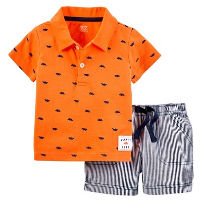 Just One You™Made by Carter's® Baby Boys' 2 Piece Triceratops Short Set - Orange 12M