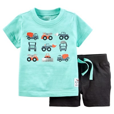 Just One You™Made by Carter's® Baby Boys' 2 Piece Trucks Short Set - Teal/Grey NB