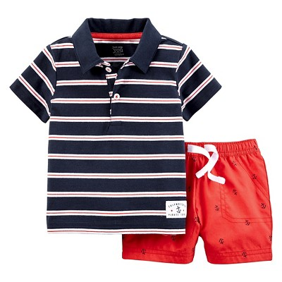 Just One You™Made by Carter's® Baby Boys' 2 Piece Anchors Short Set - Navy/Red 6M