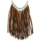 Women's Metal Chain Necklace with Simulated Suede Tassels and Beads on Tassels - Brown/Rhodium