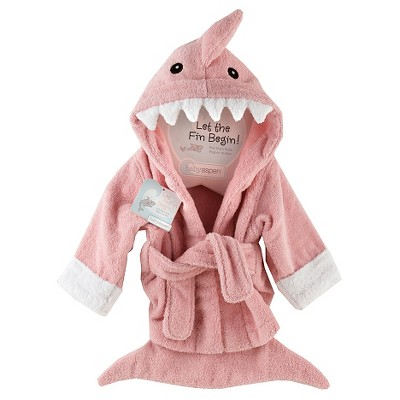 Baby Aspen Let the Fin Begin Terry Shark Robe - Pink (0-9 months)