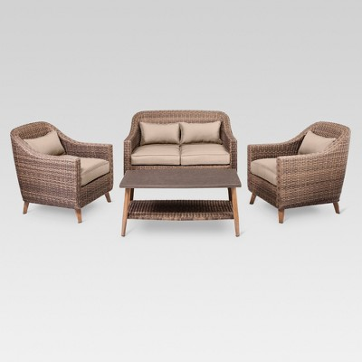 Mayhew 4-Piece All Weather Wicker Convo Set - Tan - Threshold™