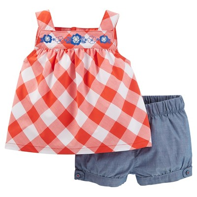 Just One You™Made by Carter's® Baby Girls' 2 Piece Gingham Short Set - Orange/Chambray 9M