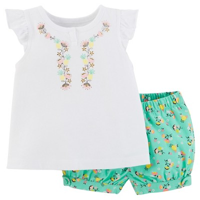 Just One You™Made by Carter's® Baby Girls' 2 Piece Ruffle Top Set - White/Green Floral 9M