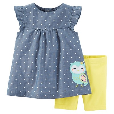 Just One You™Made by Carter's® Baby Girls' 2pc Owl Biker Short Set - Chambray/Yellow 3M