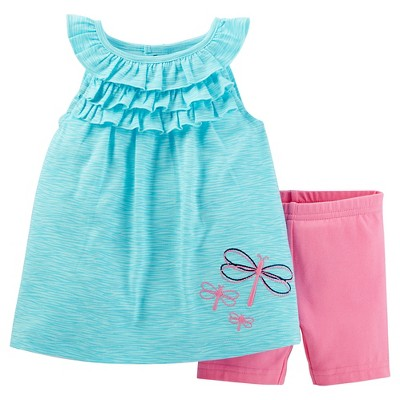 Just One You™Made by Carter's® Baby Girls' 2 Piece Butterflies Biker Short Set - Turquoise/Pink NB