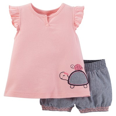 Just One You™Made by Carter's® Baby Girls' 2 Piece Turtle Bike Short Set - Pink/Navy NB