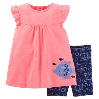 Just One You™Made by Carter's® Baby Girls' 2 Piece Fish Bike Short Set - Pink/Blue 6M