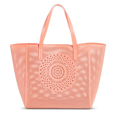 Women's Perforated Medallion Tote Faux Leather Handbag Orange - Merona™