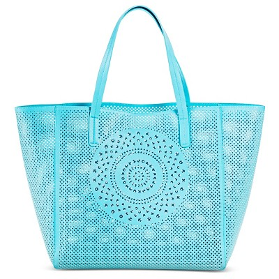 Women's Perforated Medallion Tote Handbag Soft Aqua - Merona™