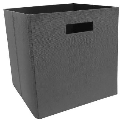 "Fabric Cube Storage Bin Cross Stitch 13"" - Gray - Threshold™"