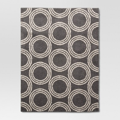 "Shag Circles Area Rug - Grey/White - 4'X5'6"" - Room Essentials™"