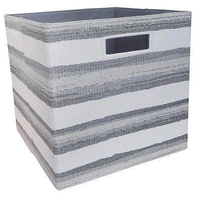"Fabric Cube Storage Bin 13"" - Washed Stripe - Threshold™"