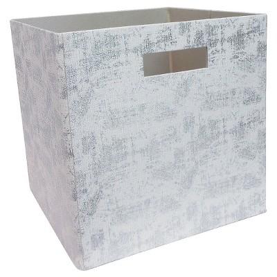 "Linen Cube Storage Bin 13"" - Foil Print - Threshold™"