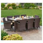 The-HOM Doha 9-Piece All-Weather Wicker Dining Set Espresso Brown with  Beige Cushions