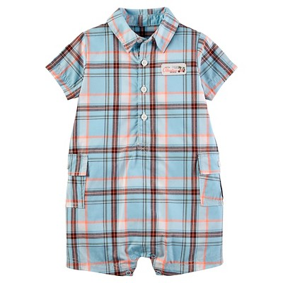 Just One You™Made by Carter's® Baby Boys' Plaid Romper - Light Blue 12M