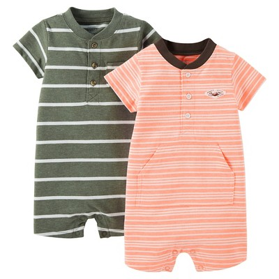 Just One You™Made by Carter's® Baby Boys' 2 Pack Stripe Knit Rompers - Olive/Orange NB