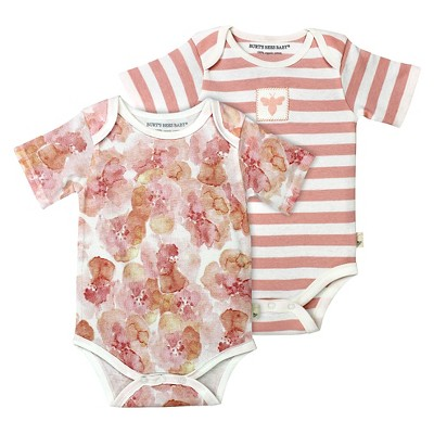 Burt's Bees Baby Infant Girls' 2 Pack Bodysuit - 6-9M Floral/Striped