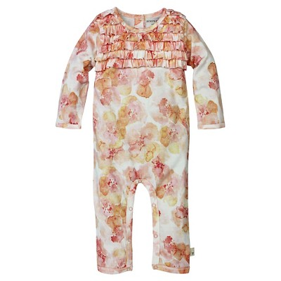 Burt's Bees Baby Infant Girls' Ruffle Coverall - 0-3M Floral/Multi