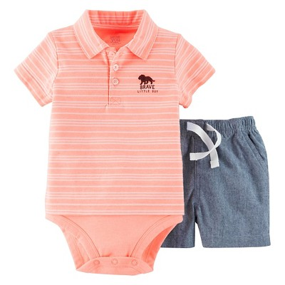 Just One You™Made by Carter's® Baby Boys' 2 Piece Set - Orange/Chambray NB