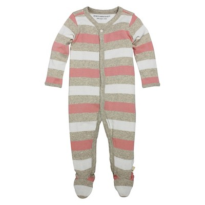 Burt's Bees Baby Infant Girls' Coverall - 6-9M Striped/Multi
