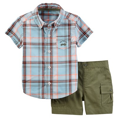 Just One You™Made by Carter's® Baby Boys' 2 Piece Plaid Woven Set - Blue/Olive NB